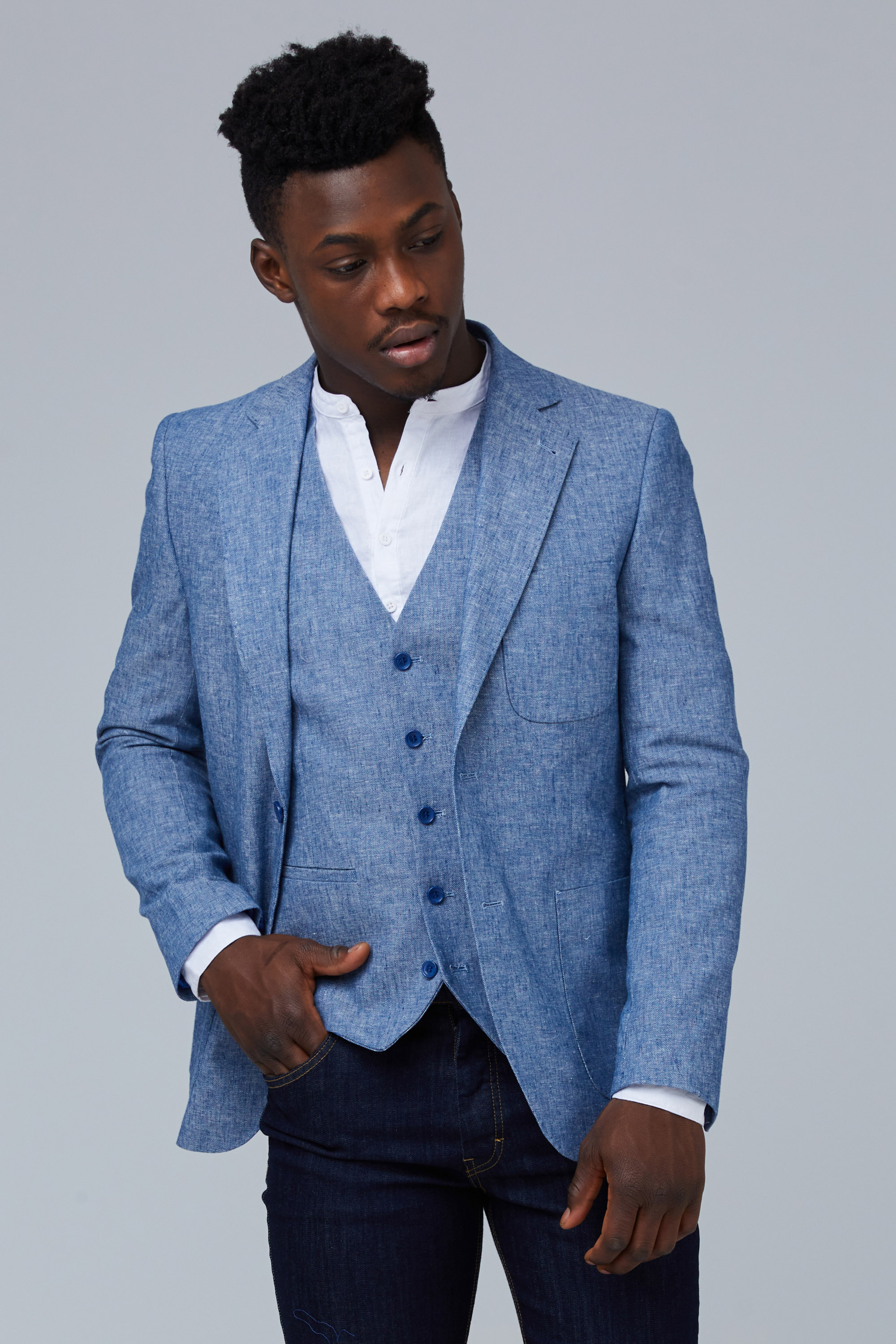gioviale bobina sostituire  Light Blue Linen Blazer With 2 Buttons In Slim Fit